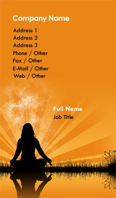 Orange Meditation Silhouette Business Card Template
